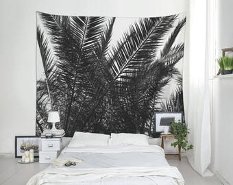 Palm Tree Tapestry | Large Wall Art | Tropical Decor | Palm Leaf Art | Summer Tapestry | Black And White | Tropical Wall Art. MG031A
