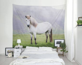 White Horse Print, Wall Tapestry, Icelandic Horse, Animal Tapestries, Large Wall Art, Nature Decor, Iceland Photo. SV029