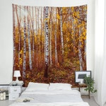 Birch Tapestry, Nature Wall Tapestry, Large Wall Art, Golden Forest, Landscape Photo, Wall Hanging, Tree Tapestry. UL077