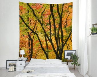 Fall Tapestry, Autumn Tapestries, Maple Tree Photo, Forest Tapestry, Tree Tapestry, Nature Wall Decor, Yellow Decoration, Dorm. MW045