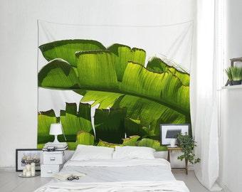 Banana Leaf Wall Tapestry, Tropical Wall Art, Green Tapestry, Illustration Print, Wall Decorating, Banana Tree Art, Beach Tapestry. MG047