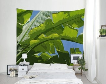Banana Leaf Tapestry, Tropical Tapestries, Banana Tree Art, Tropical Wall Decor, Illustration Art, Wall Decoration, Dorm Tapestry. MG045