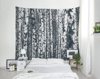 Forest Tapestry, Birch Tree Wall Art, Nature Decor, Large Wall Hanging, Affordable Wall Art, Monochromatic Art, Tree Wall Decor. UL067
