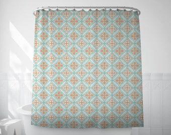 Boho Shower Curtain Spanish Tile Bath Mosaic Barcelona Design Decorations Long Sets