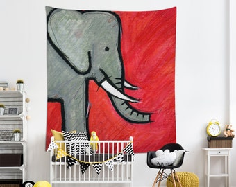 Elephant Tapestry, Animal Wall Art, Nursery Tapestries, Kids Room Art, Nursery Wall Art. MS022