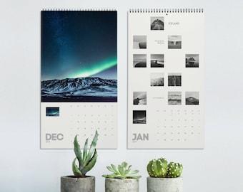 Iceland calendar, 2022 Wall calendar with Iceland photography, Landscape photos calendar 2022, Christmas gift. SVCAL1