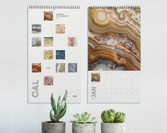 2022 Calendar of Mineral photography (version 2), Wall decor, Minerals and crystals wall print, Agate, Fluorite, Quartz, Amethyst. MW3