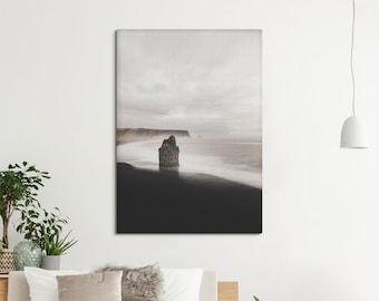 Minimalist canvas print, Icelandic art of a volcanic beach, black sand coastal print, South Iceland, Sepia. SV064
