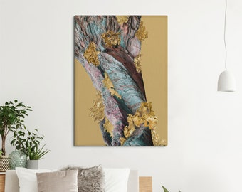 Golden decor canvas print, Elegant art with an abstract image of gold and rocky textures. SV126