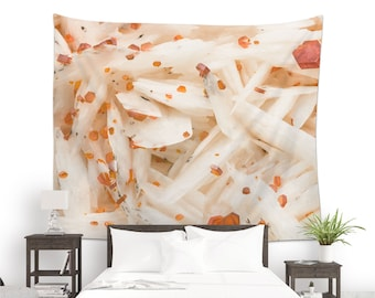 Wall tapestry with a Vanadinite crystals photo for wall decoration or photo backdrop, Mineral wall art, Fabric wall hanging. MW155