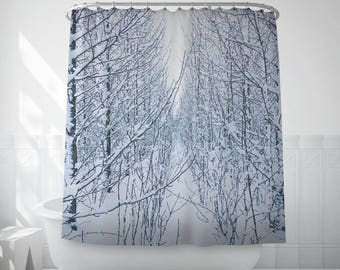 Frozen Tree Shower Curtain Snowy Print Black And White Bath Set Liner Extra Long Curtains