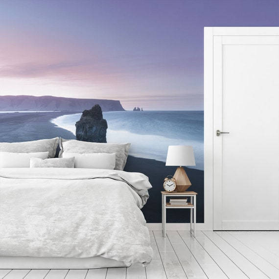 Wall decoration Housewarming gift Self adhesive or Regular wall paper Iceland landscape large wall mural Purple beach wallpaper SV042