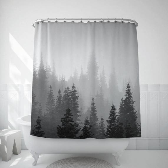 Tree Shower Curtain Tree Decor Black White Photo Landscape Etsy