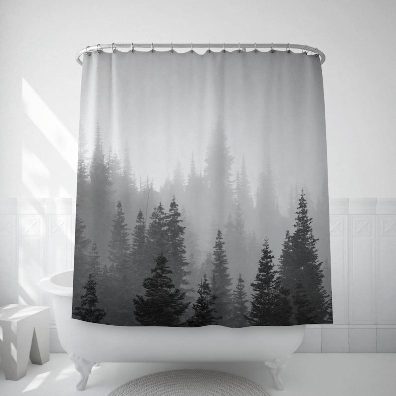 Tree Shower Curtain Tree Decor Black White Photo Landscape image 0