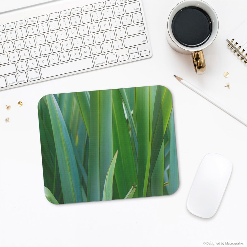 Mouse pad with a macro photograph of English iris leaves for a image 0