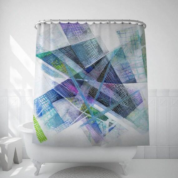 Abstract Art Bath Blue Shower Curtain Original