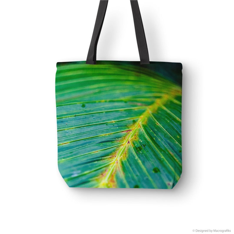 Tropical leaf tote bag Plant lover gift with a macro image 0