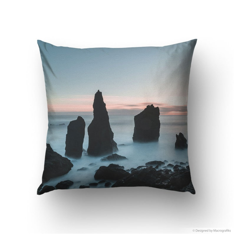 Nordic landscape pillow cover Sunset photo of a rocky coast image 0