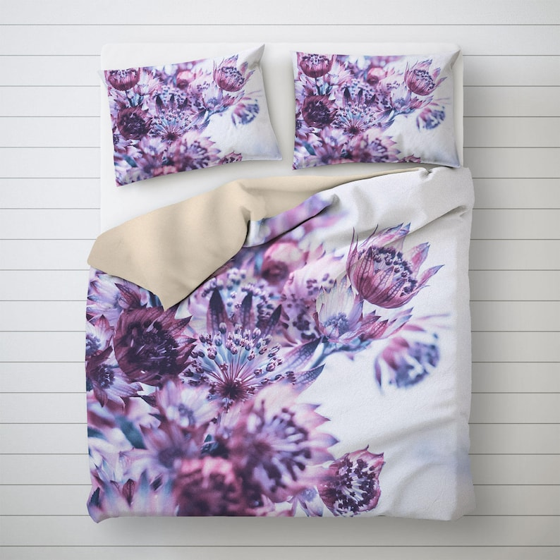 Floral Bedding Purple Flower Print Photo Duvet Cover Purple image 0