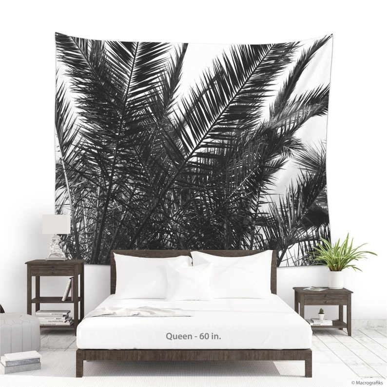 Palm tree tapestry in Black and white Large wall art image 0