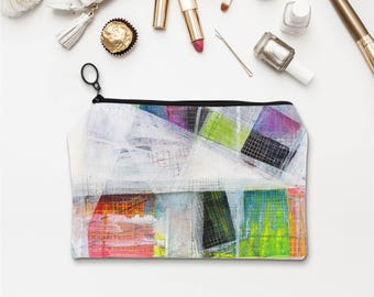 Abstract art accessory pouch, Shabby chic makeup pouch, Unique bags, Cosmetic pouch, Pencil pouch Colorful 21st birthday gift for her. MS036
