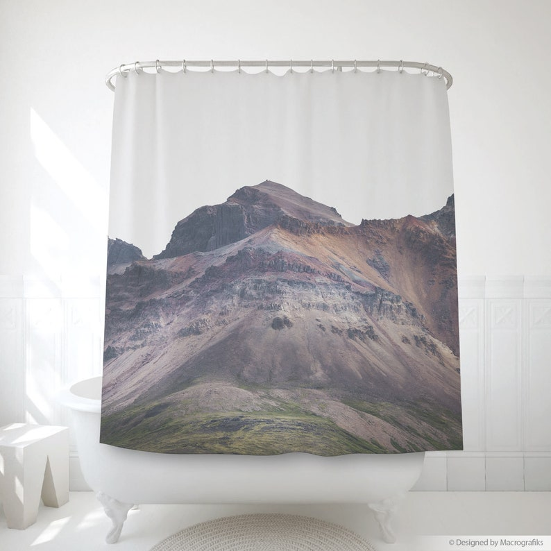 Volcanic mountain shower curtain Minimalist bath art image 0