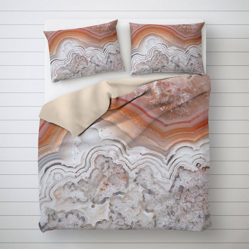 Agate Duvet Cover Abstract Bedding Mineral Photo Decor image 0