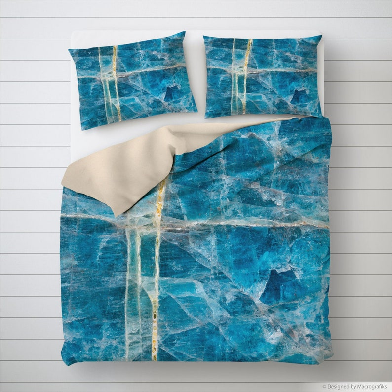 Blue mineral bedding Apatite comforter or Duvet cover image 0