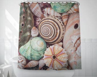 Sea shells shower curtain, Beach decor bath shower curtain, Bathroom decor, Textile, Home decor, Housewarming, Home gifts, Bath liner. MW100
