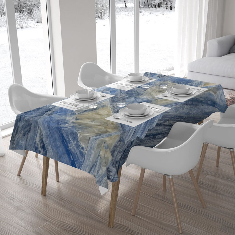 Blue tablecloth with a Kyanite mineral photography for an image 0