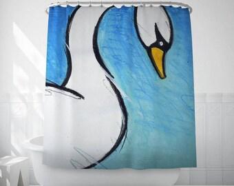 Swan Shower Curtain, Bathroom Decor, Kids Bath Art, Animal Illustration, Blue Shower Curtains, Personalized Shower