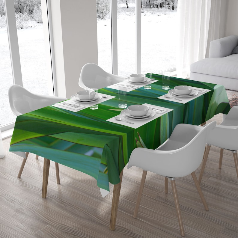 Green leaf photo tablecloth Wedding table cloth Nature image 0