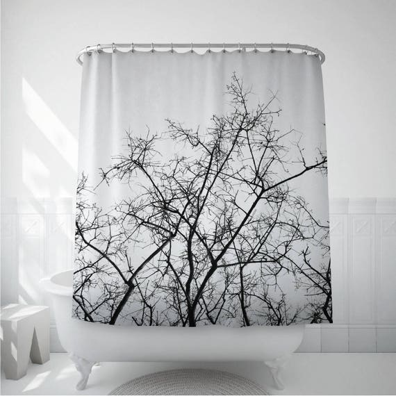 Tree Shower Curtain Dried Branches Black And White Bath