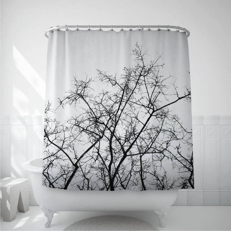 Tree Shower Curtain Dried Branches Black And White Bath Decoration Bathroom Decor Nature Art