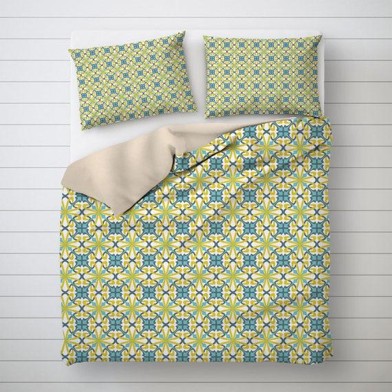 Modernist Bettwäsche Muster-Design grün und blau am besten | Etsy