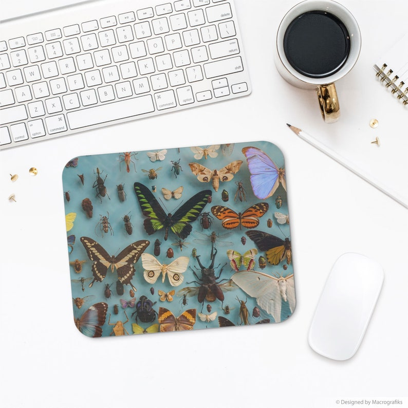 Butterflies and bugs mousepad computer accessory with a image 0