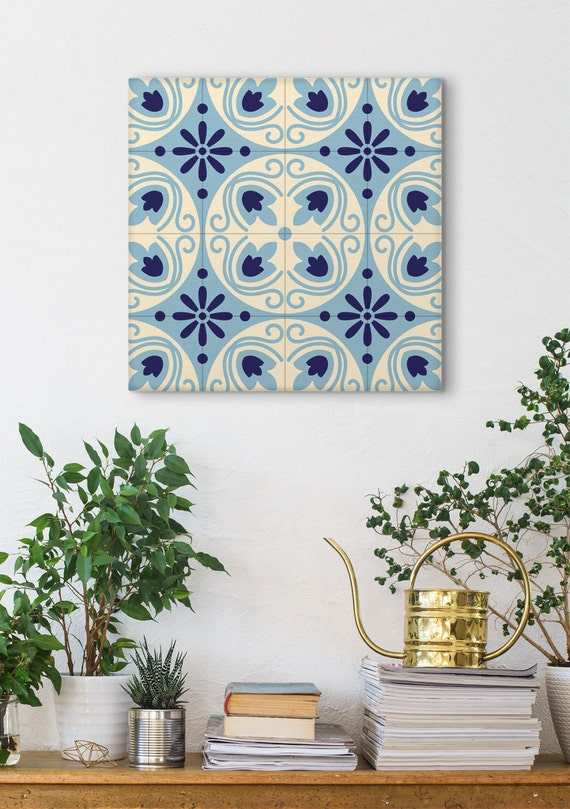 Spanish Tile Canvas Print Wall Decor Barcelona Tiles Gift For Mom Kitchen Wall Art Country Home Traditional Art Print Geometric Sp036