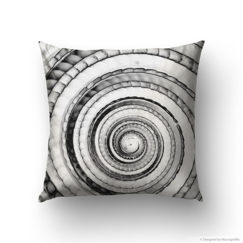 Black and white seashell pillow cover for nautical decor. image 0