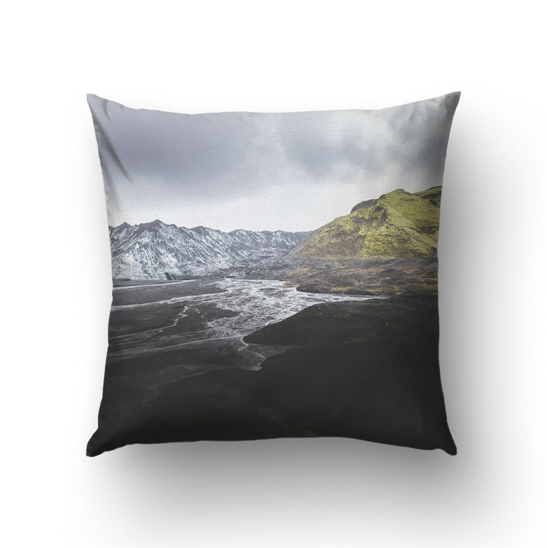 Dark landscape pillow cover Volcanic mountains in Iceland for image 0