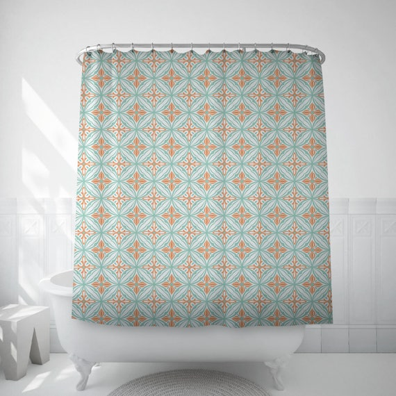Boho Shower Curtain Spanish Tile Bath Mosaic