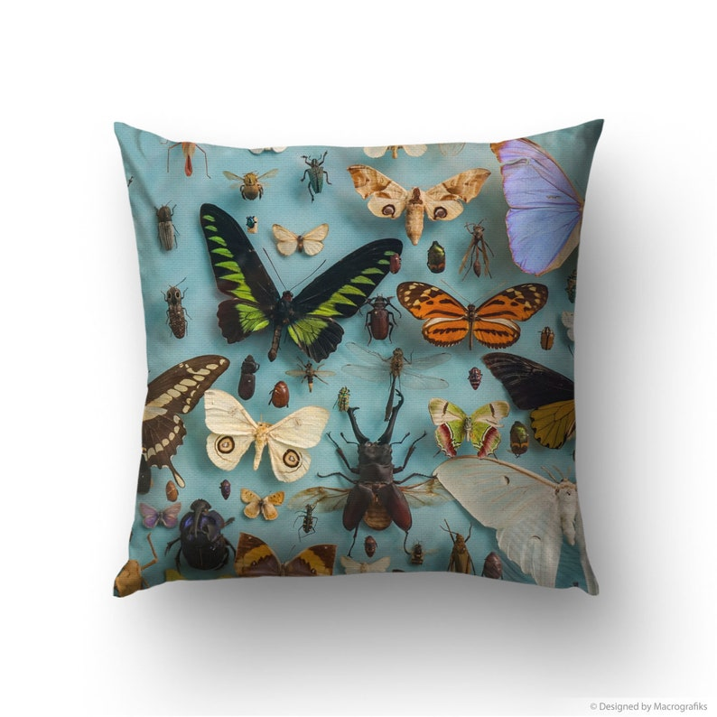 Pillow cover with a picture of butterflies and bugs printed image 0