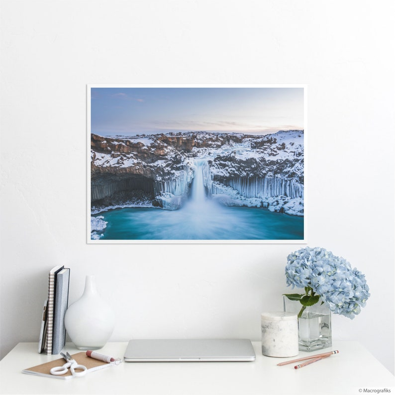 Falling water print North Iceland landscape photography image 0