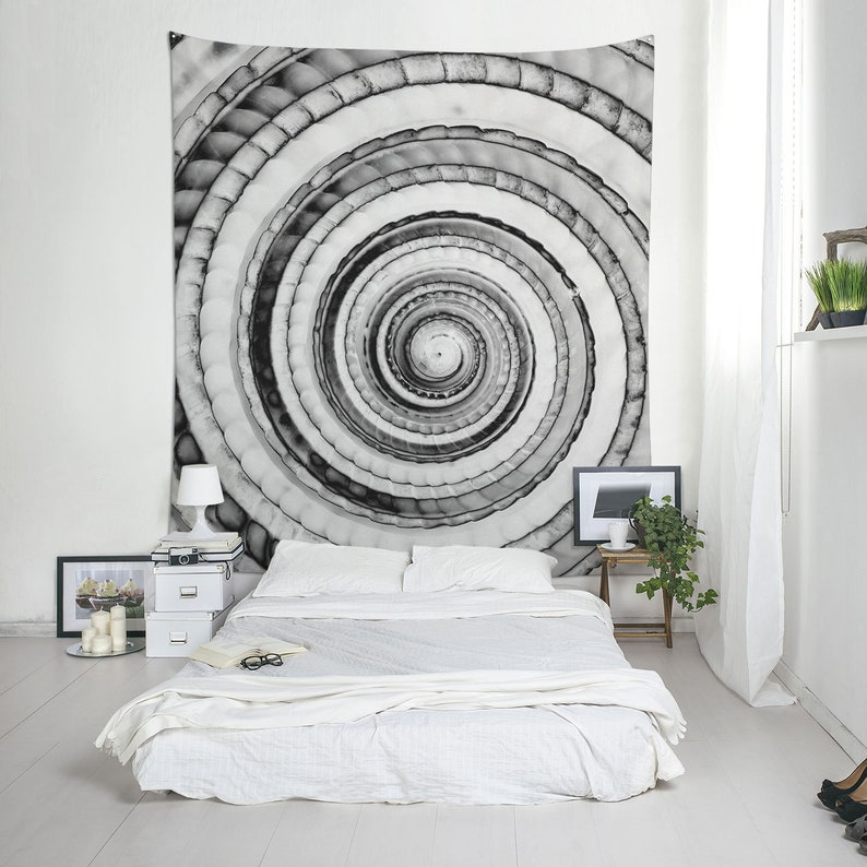 Sundial shell wall tapestry Black and white spiral design for image 0