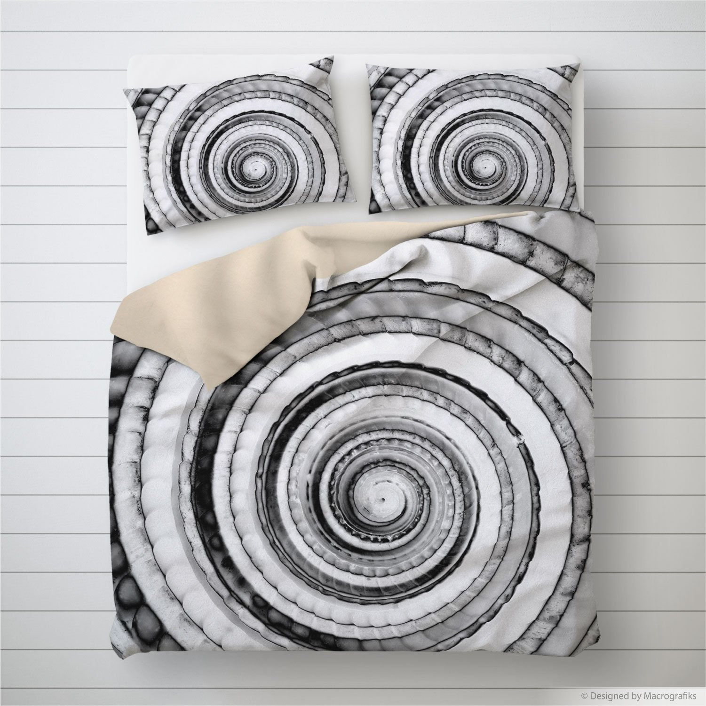 Housse de couette coquillage, design nautique, noir et blanc, coquille de cadran solaire, décor de chambre à coucher, décoration Boho. MW121