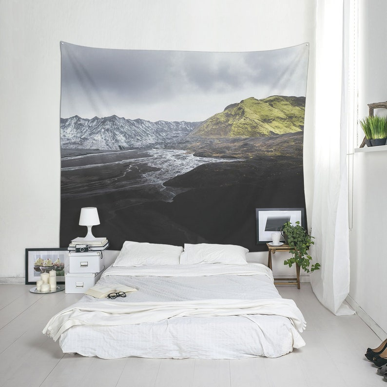 Landscape photography of volcanic mountains in Iceland Fabric image 0