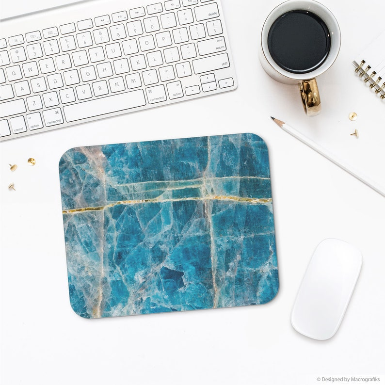 Apatite mousepad Blue mineral art Office decoration image 0