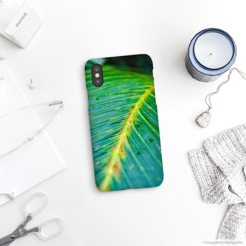 Tropical leaf phone case Macro photography for iPhone X XS image 0