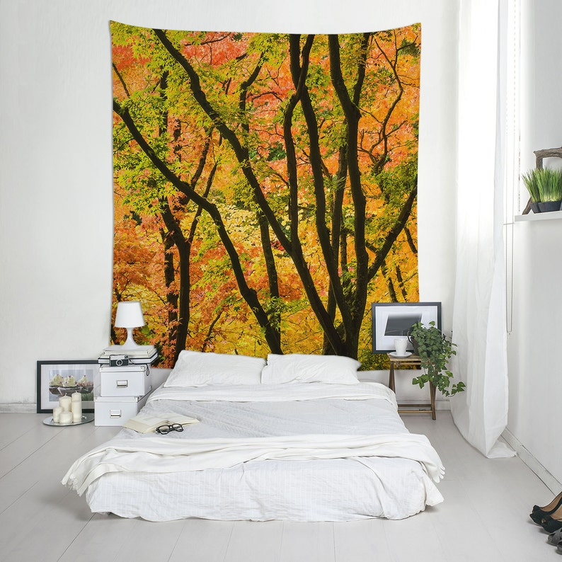 Fall Tapestry Autumn Tapestries Maple Tree Photo Forest image 0