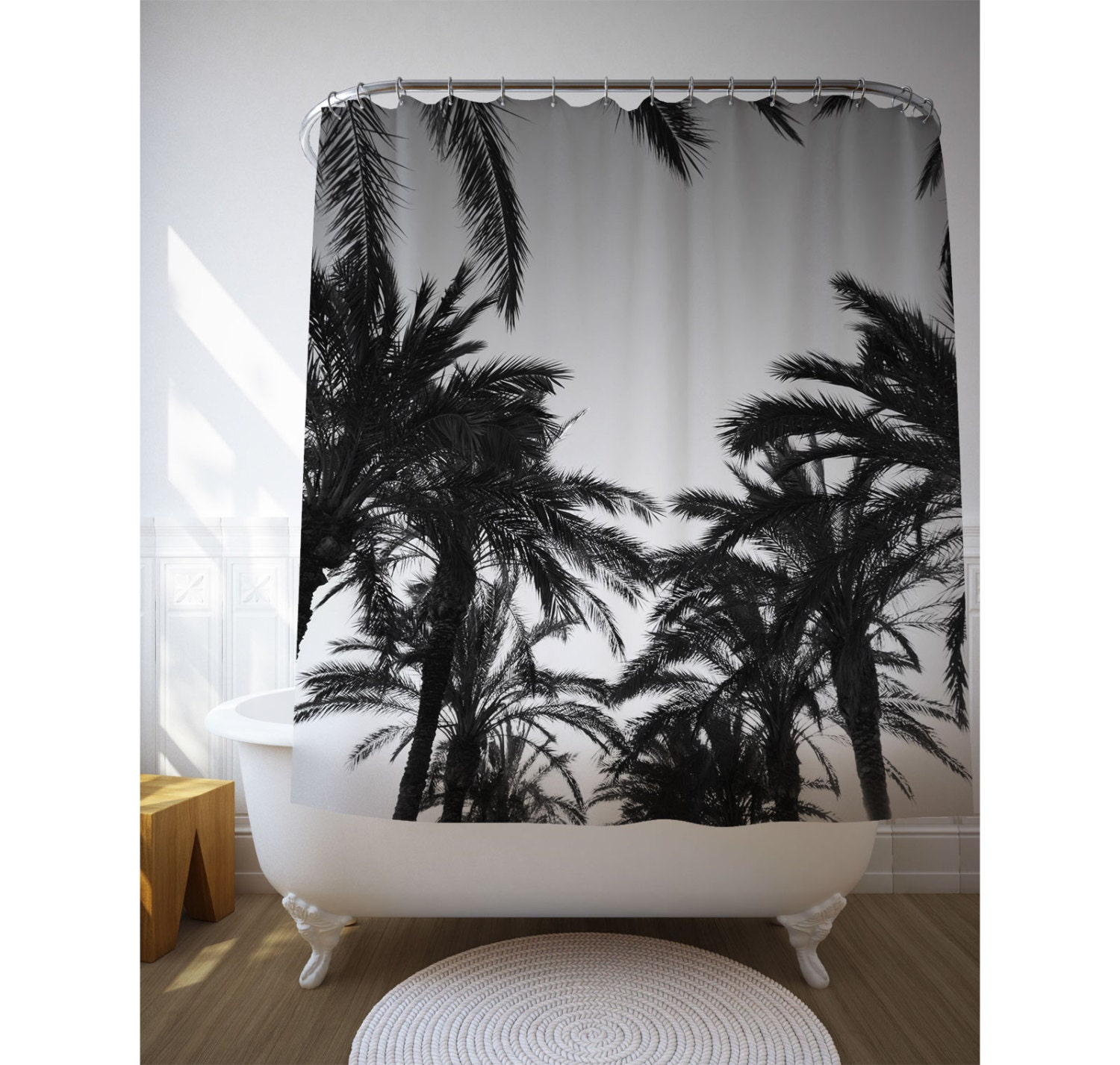 Black And White Palm Trees Shower Curtain Tropical Shower Art Beach House Decor Bath Decoration Personalized Bath