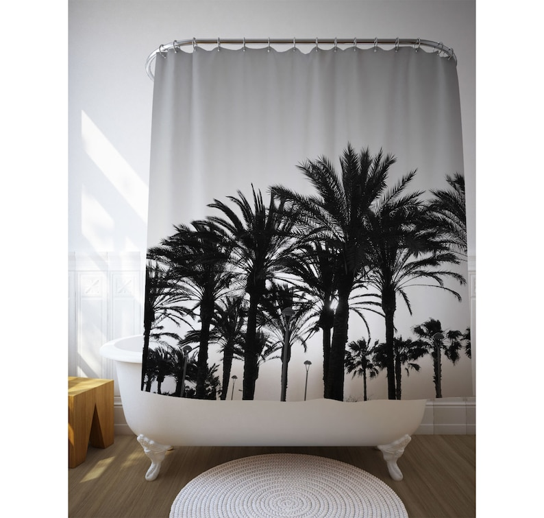 Black And White Palm Trees Shower Curtain Tropical Bathroom Decor Bath Decoration Photo Mediterranean